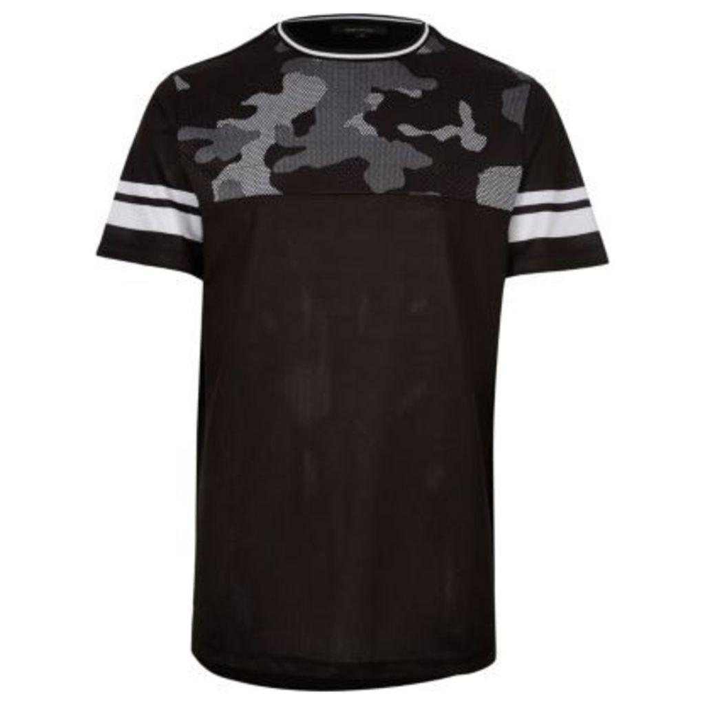 River Island Mens Black mesh camo panel T-shirt