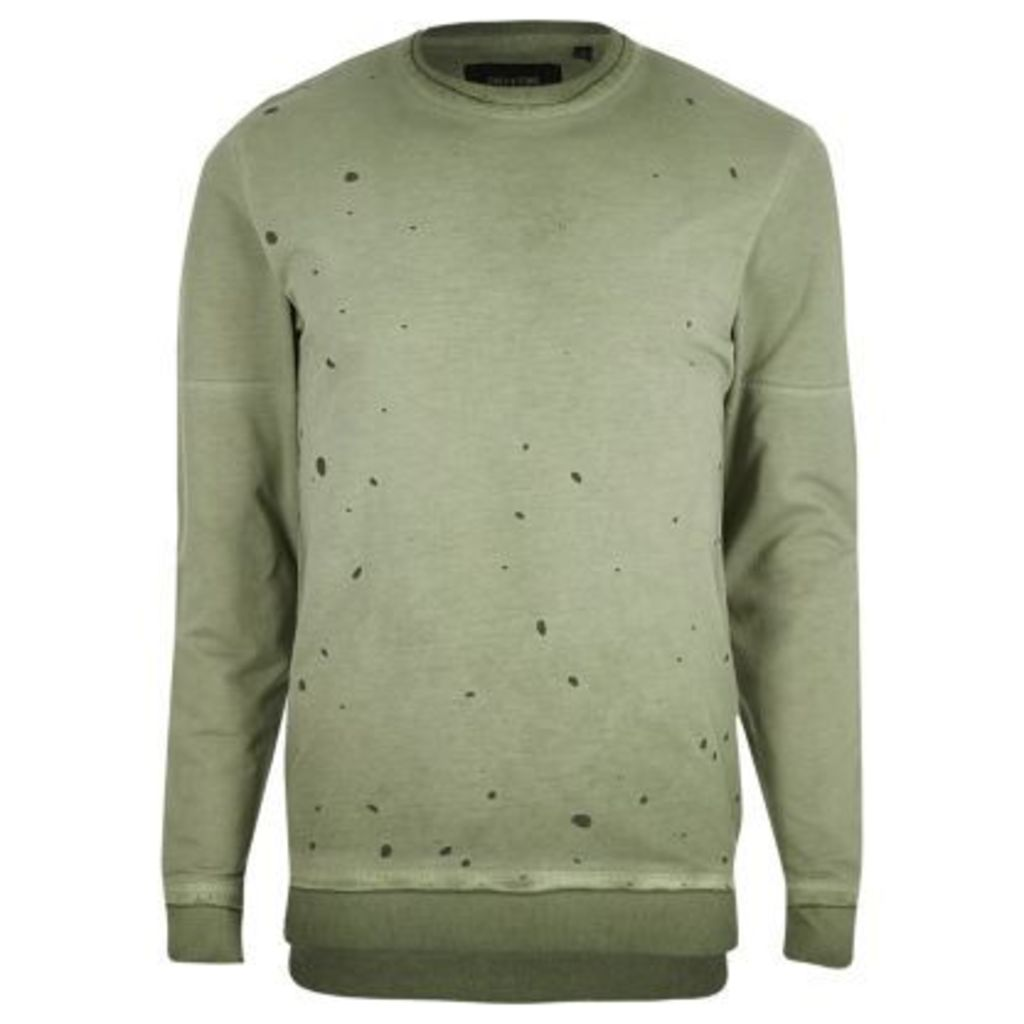 River Island Mens Green Only & Sons nibbled sweatshirt