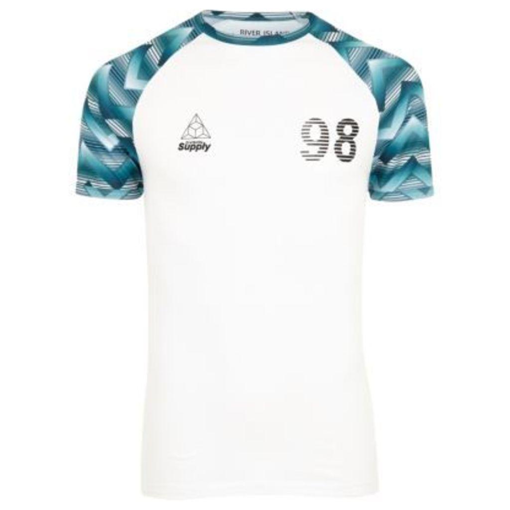 River Island Mens White geo print muscle fit raglan T-shirt