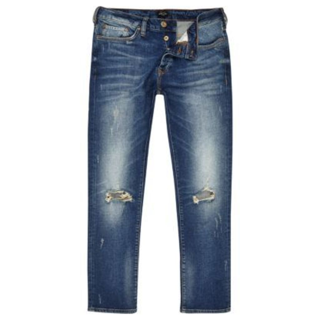 River Island Mens Blue ripped Dylan slim fit jeans