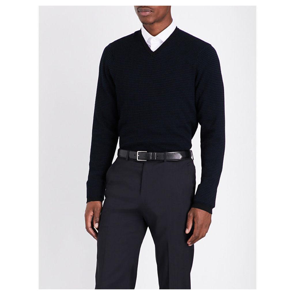 V-neck knitted jumper, Men's, Size: 40, Black