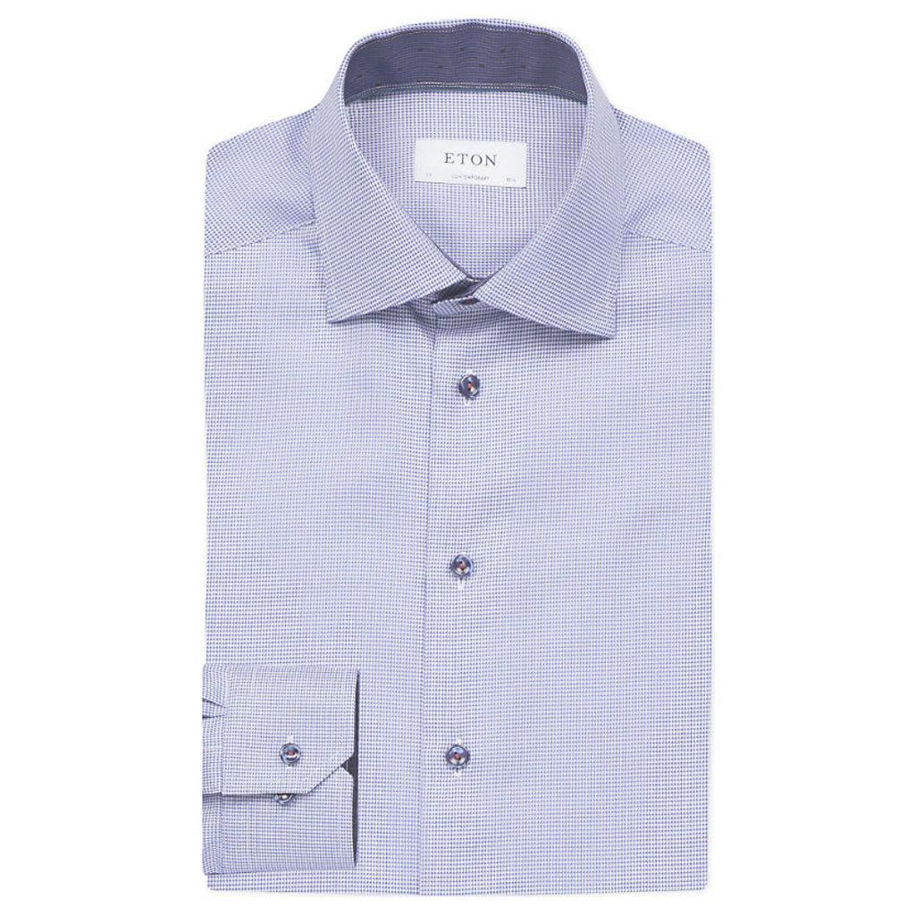 Micro-print contemporary-fit cotton shirt, Men's, Size: 15.5, Blue