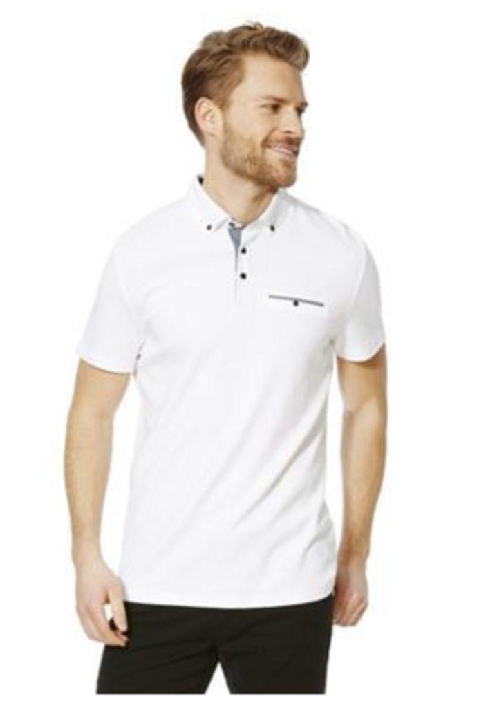 F&F Signature Button-Down Mercerised Cotton Polo Shirt, Men's, Size: Large