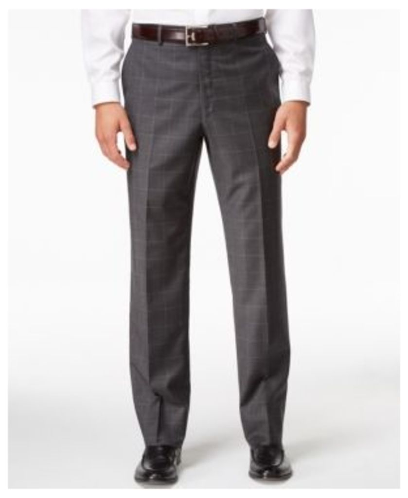 Shaquille O'Neal Collection Men's Big & Tall Classic-Fit Charcoal Windowpane Pants, Only at Macy's