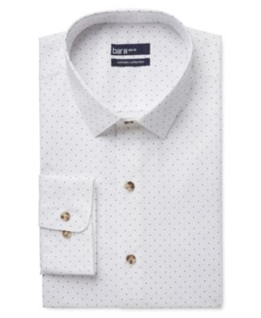 Bar Iii Carnaby Collection Slim-Fit White Navy Polka Dot Print Dress Shirt, Only at Macy's