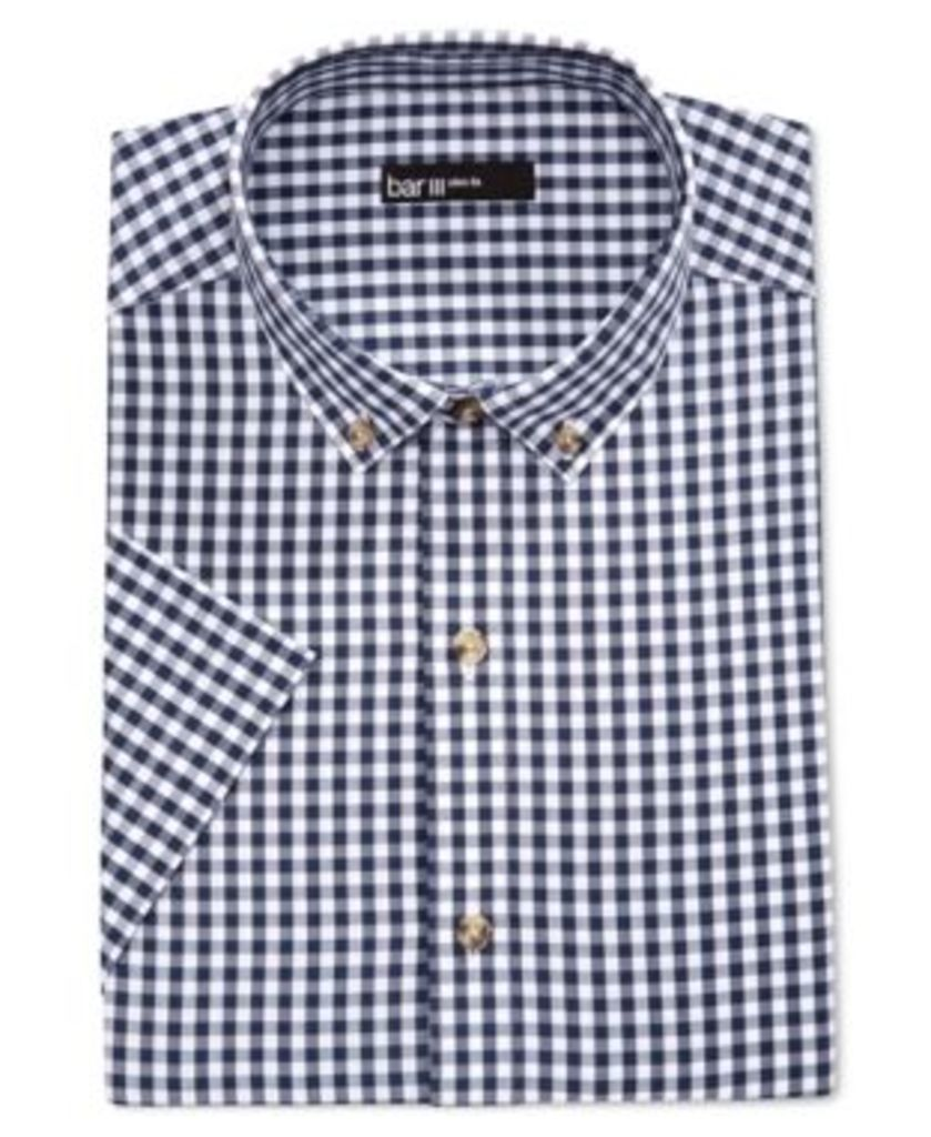 Bar Iii Men's Slim-Fit Navy and White Gingham Short-Sleeve Dress Shirt, Only at Macy's