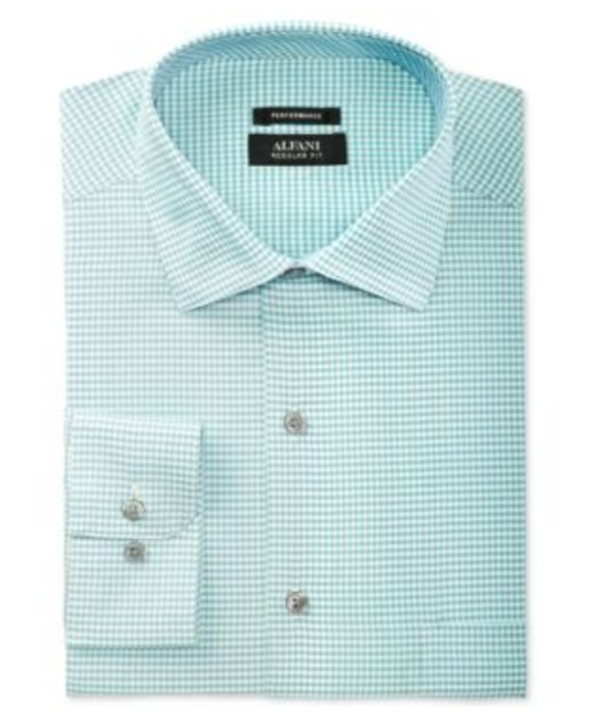 Alfani Black Men's Classic/Regular Fit Performance Turquoise Fine Gingham Dress Shirt, Only at Macy's