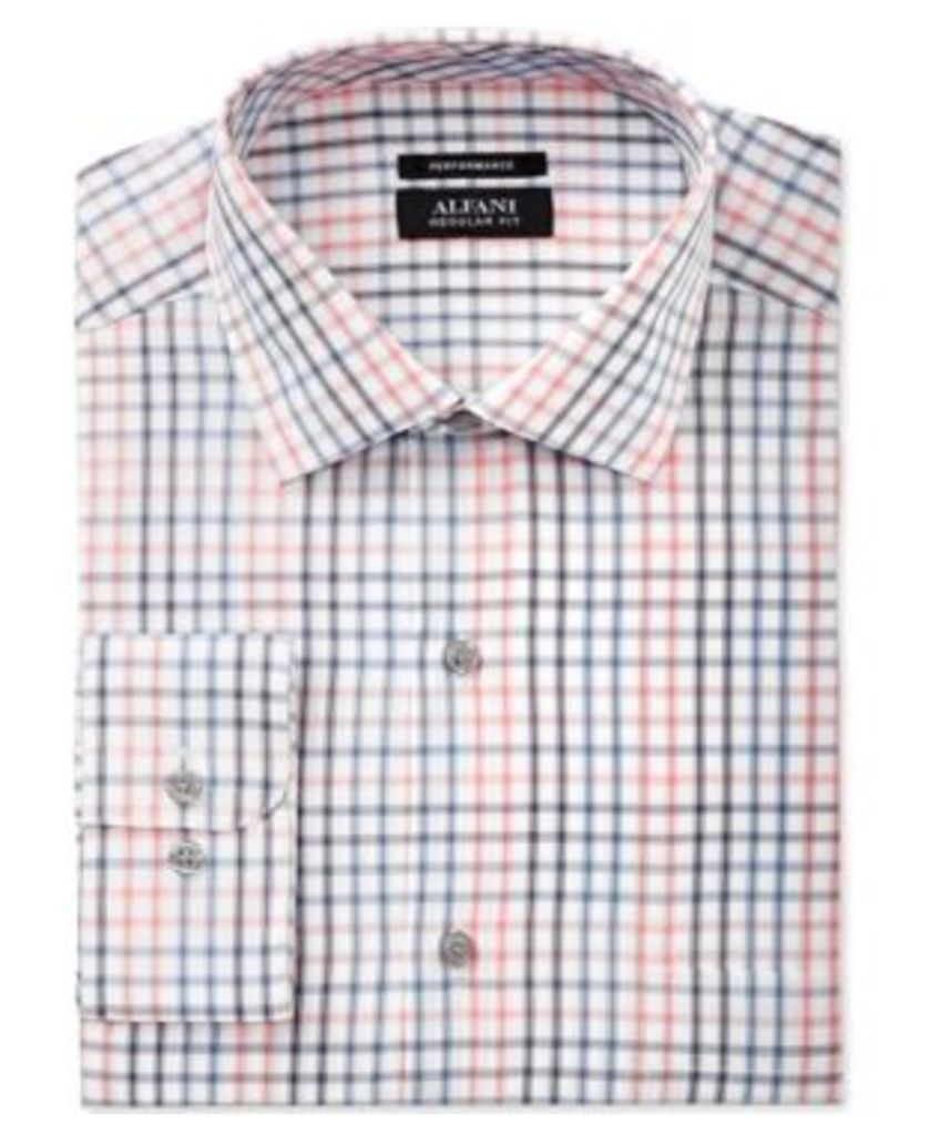 Alfani Black Men's Classic/Regular Fit Performance Coral Blue Windowpane Dress Shirt, Only at Macy's