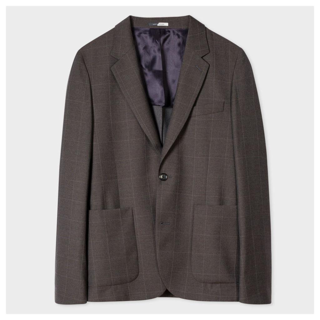 Men's Mid-Fit Two-Tone Grey Windowpane-Check Wool Blazer