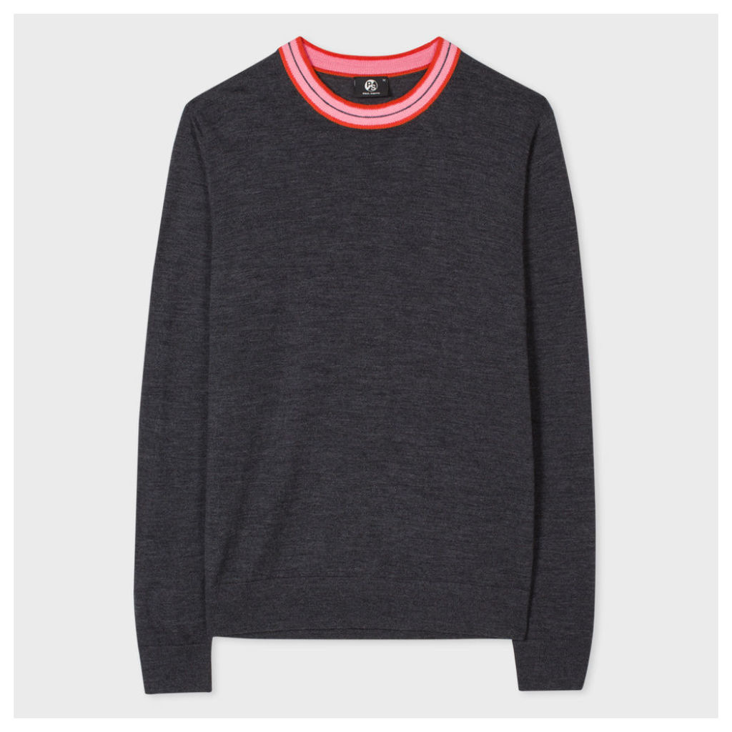 Men's Charcoal Grey Merino Wool-Blend Sweater With Contrasting Collar
