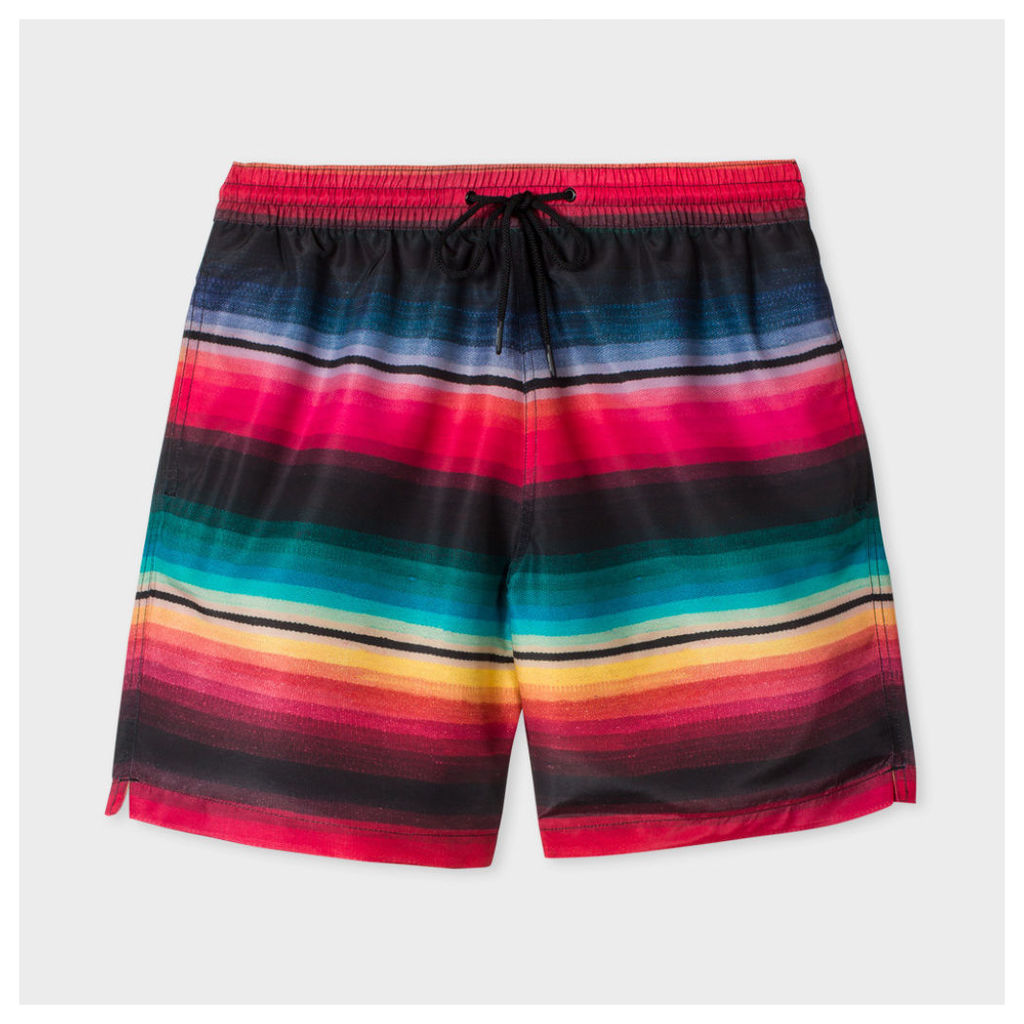 Men's Rainbow 'Blanket Stripe' Long Swim Shorts