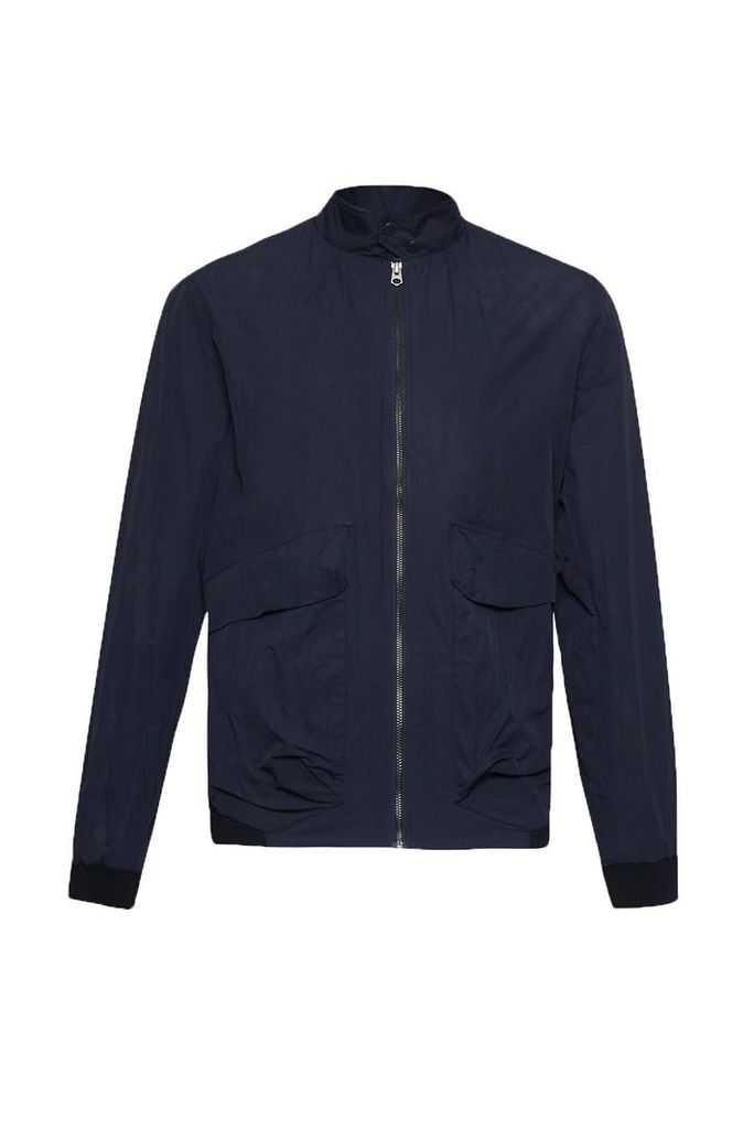 Men's French Connection Hornfell Wax Zip Up Jacket, Blue