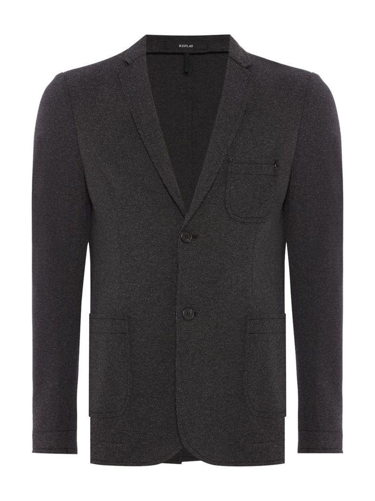 Men's Replay Stretch cotton blend jacket, Black & Grey