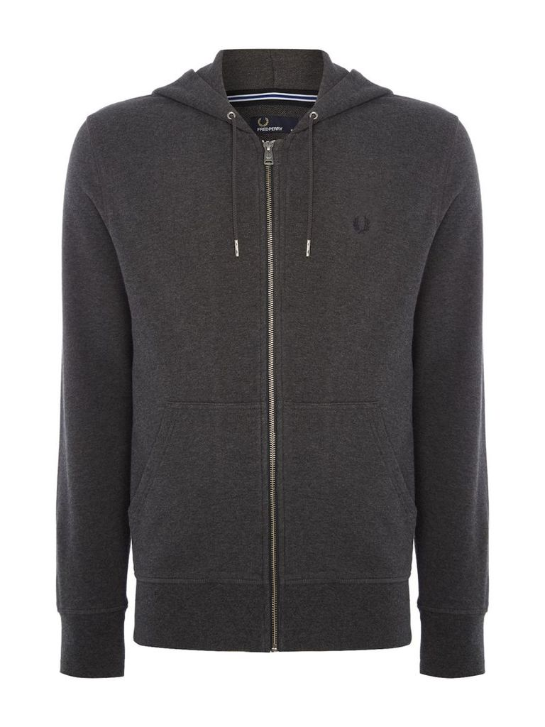 Men's Fred Perry Loopback hooded sweat, Graphite