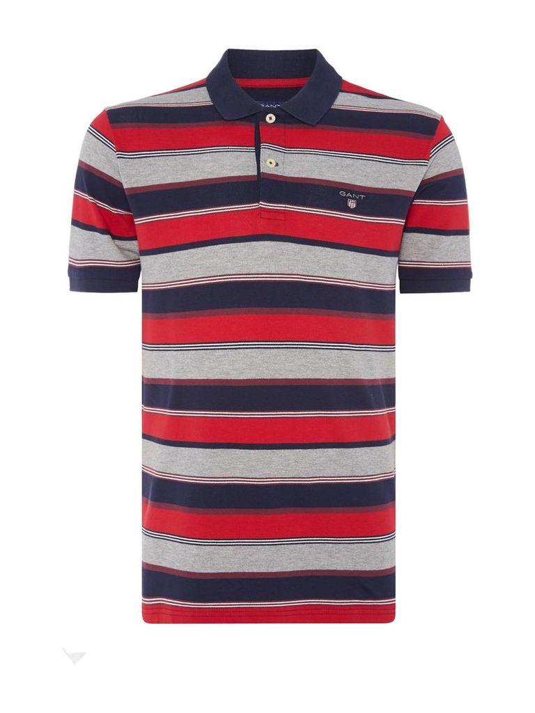 Men's Gant Multistripe Short Sleeved Polo, Red Multi