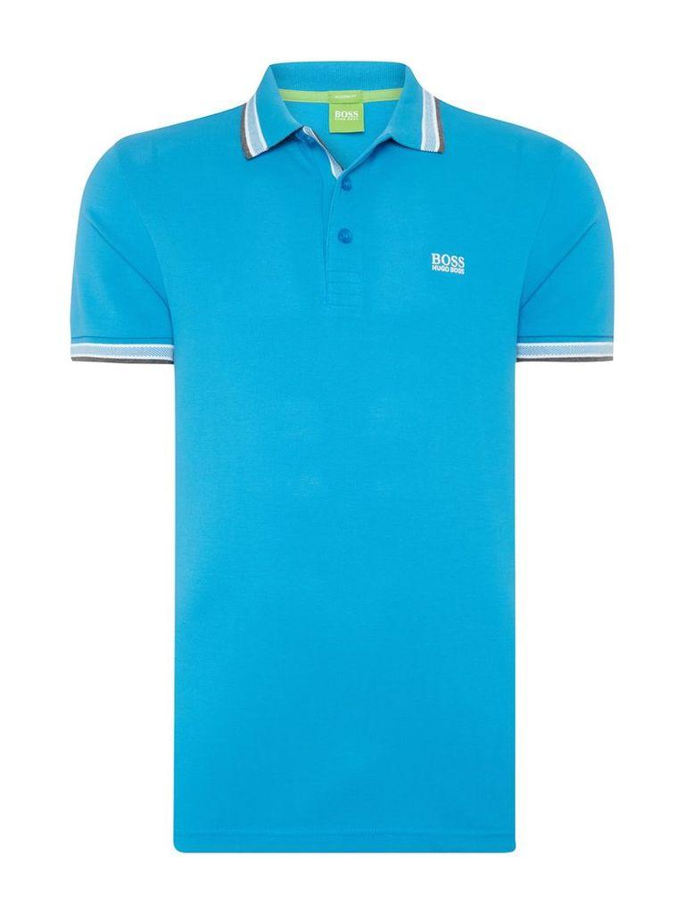 Men's Hugo Boss Paddy regular fit tipped logo polo shirt, Bright Blue