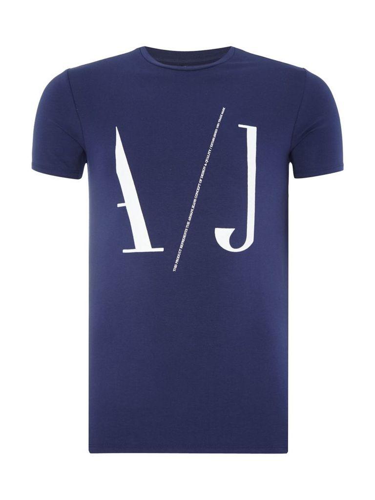 Men's Armani Jeans Regular fit large AJ logo printed t shirt, Blue