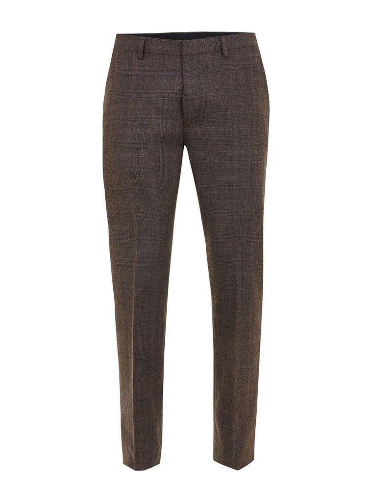 Men's Topman Check skinny fit suit Trousers, Dark Brown