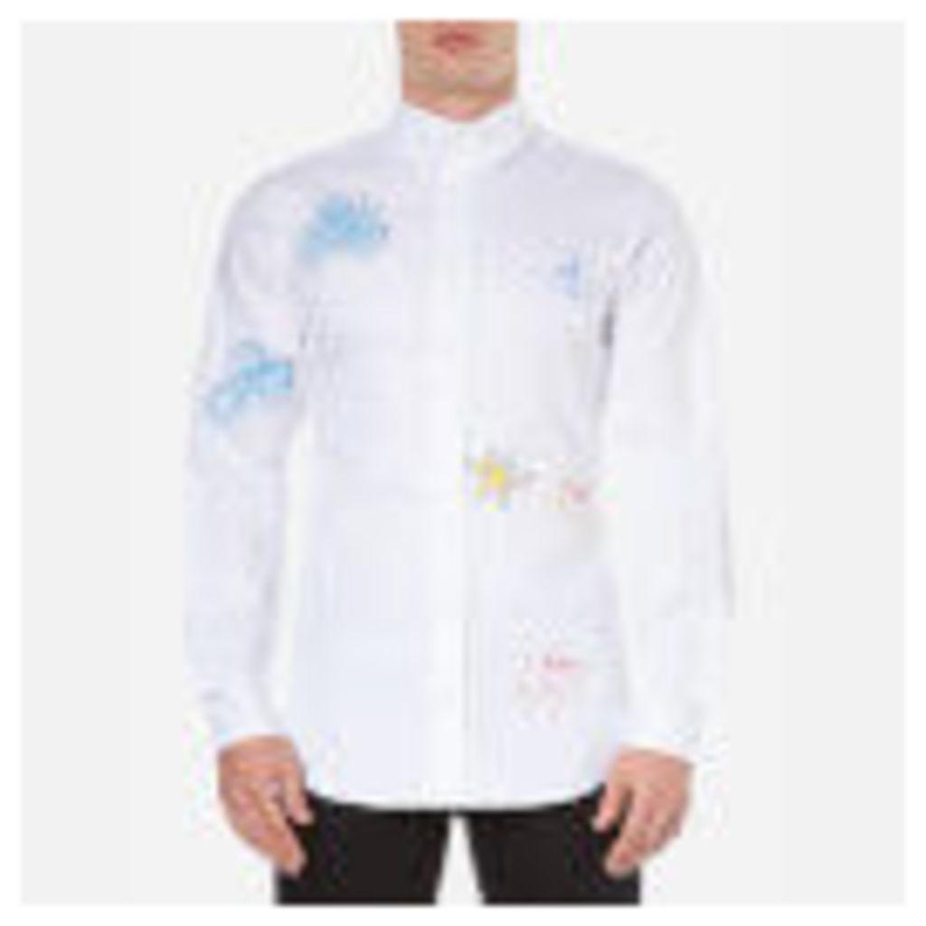 Vivienne Westwood MAN Men's Oxford Embroidered Two Button Shirt - White - XL/EU 52