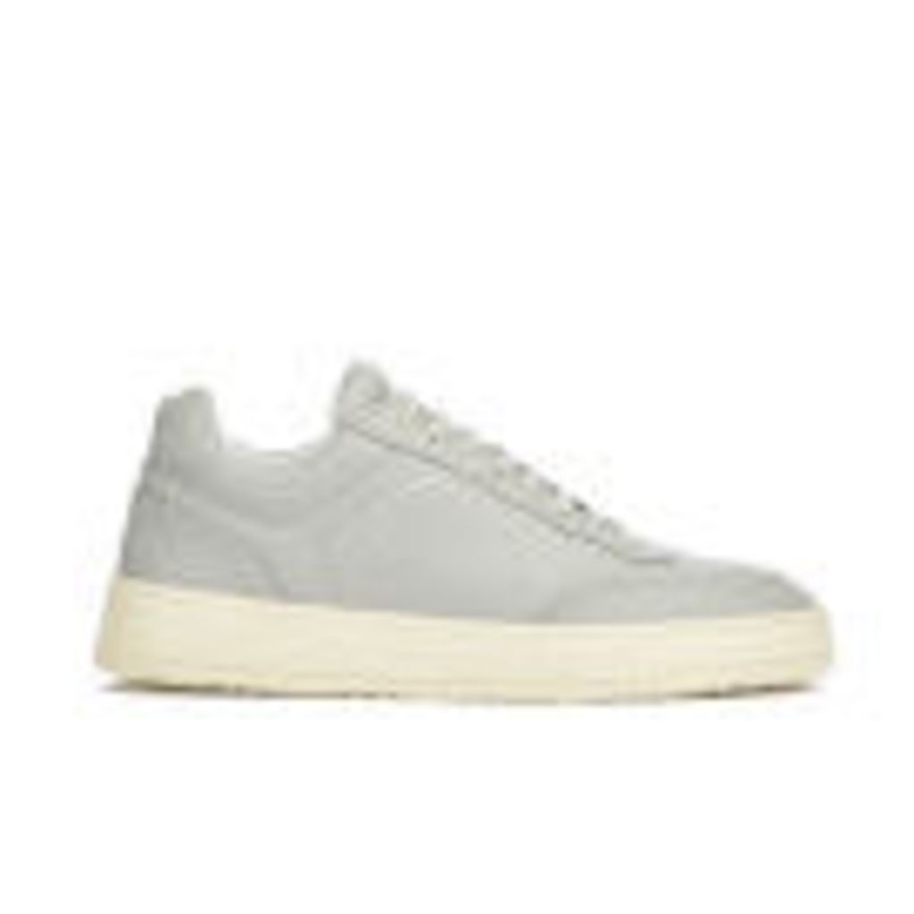 ETQ. Men's Low Top 5 Rubberized Leather Trainers - Alloy/Eggshell - UK 11