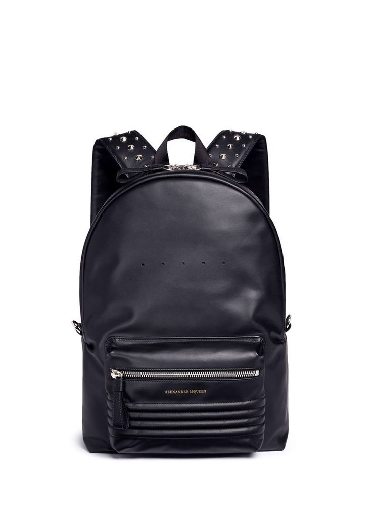 Stud strap leather backpack