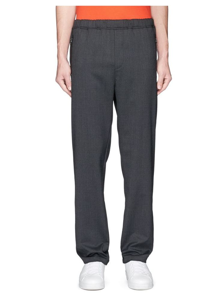 Drawstring waist twill jogging pants