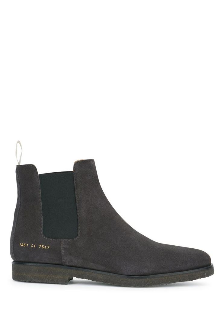 Dark grey brushed suede Chelsea boots