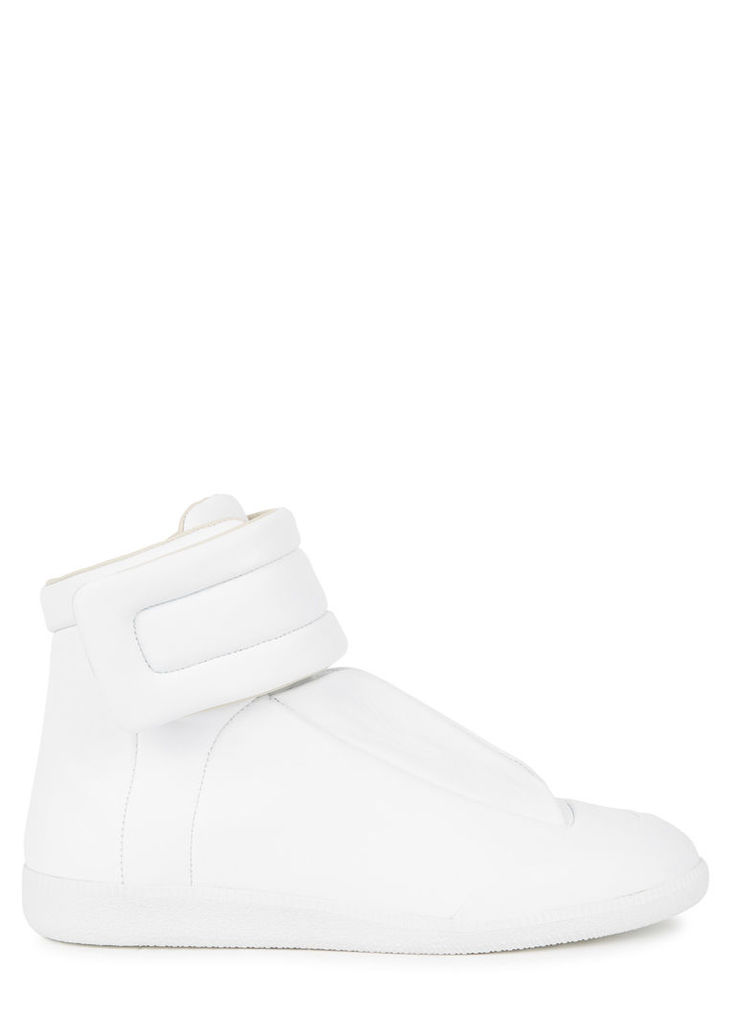 Future white leather hi-top trainers