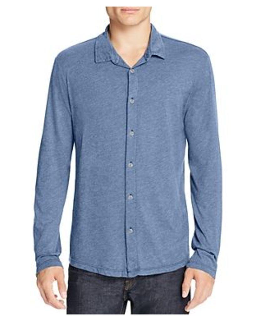 Velvet Marsh Heathered Jersey Knit Regular Fit Button-Down Shirt