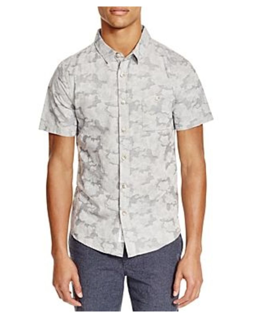 Native Youth Jacquard Camouflage Slim Fit Button-Down Shirt