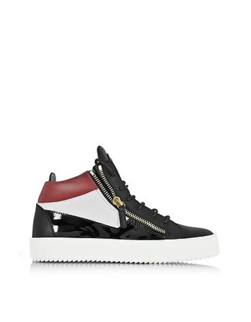 Giuseppe Zanotti - Kriss Mid-Top Color Block Leather Men's Sneaker w/Red Logo