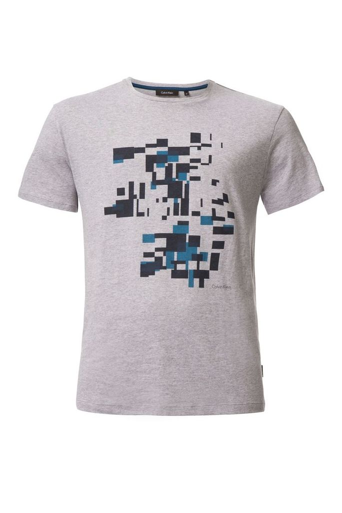 Men's Calvin Klein Jafi shifted boxes placement print tee, Grey