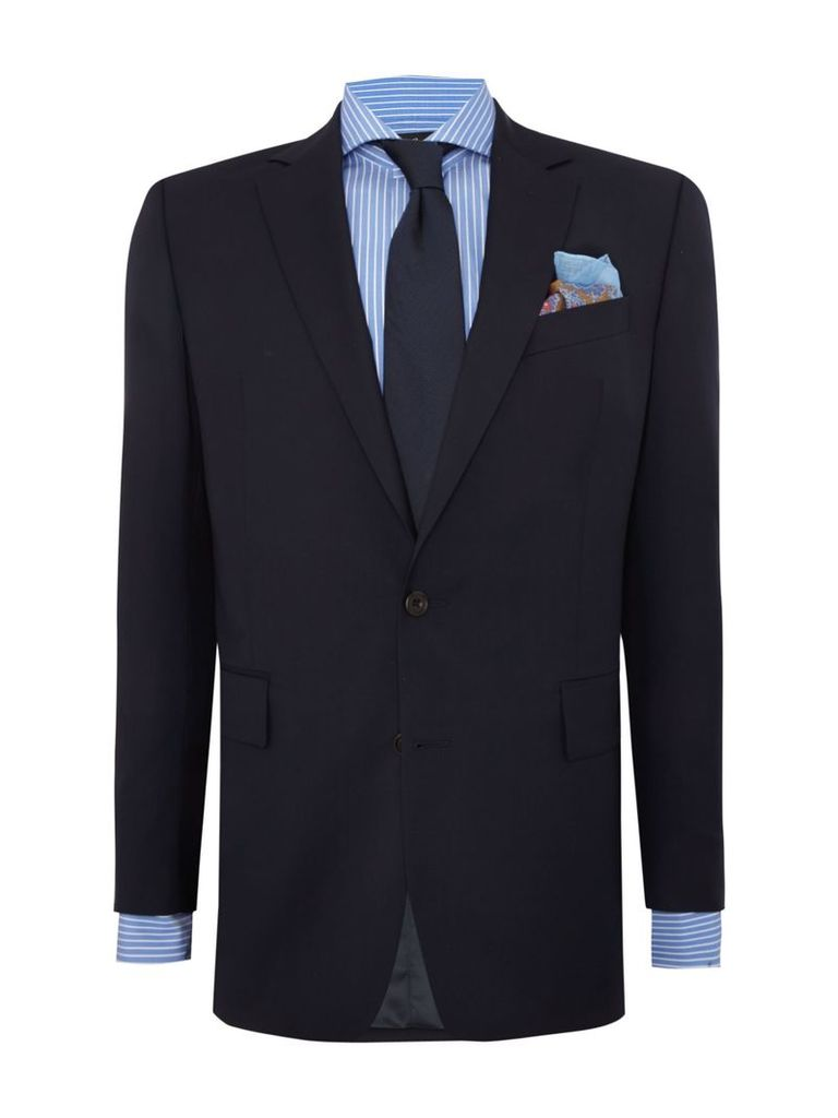 Men's Chester Barrie Plain Weave Notch Collar Tailored Fit Suit, Navy