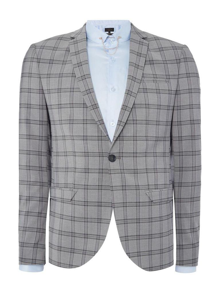 Men's Label Lab Belvin SB1 check suit jacket, Grey