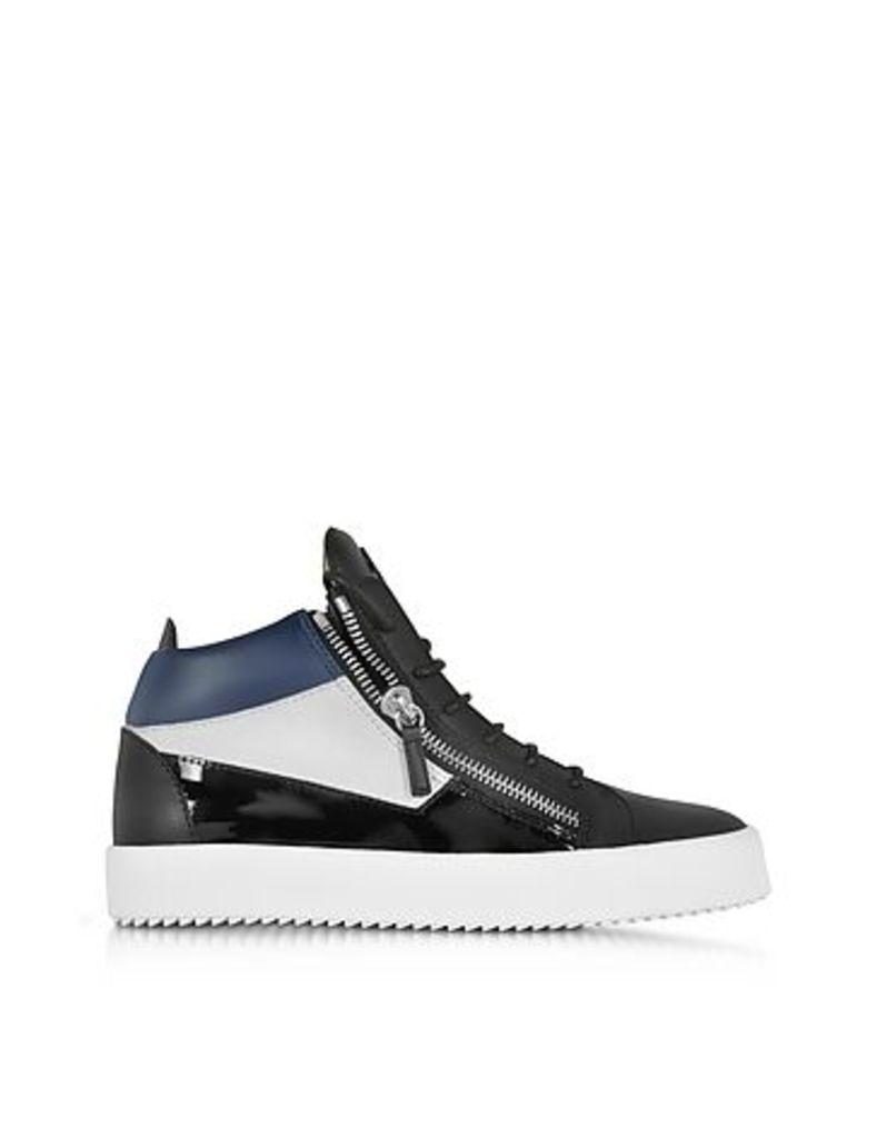 Giuseppe Zanotti - Kriss Mid-Top Black and Blue Leather Men's Sneaker