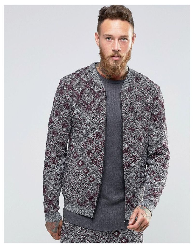 ASOS Knitted Bomber Jacket with Aztec Design - Grey