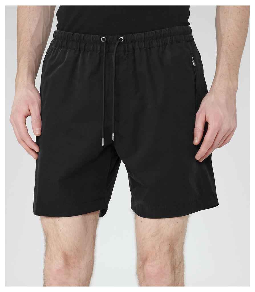 REISS Howard - Mens Drawstring Shorts in Black