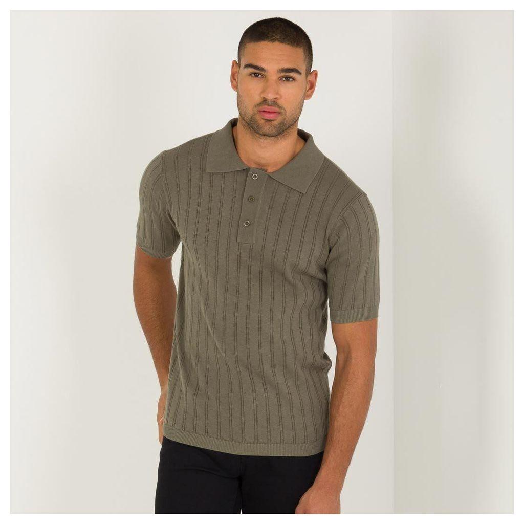 Maniere De Voir; Ribbed Knitted Polo Top - Khaki