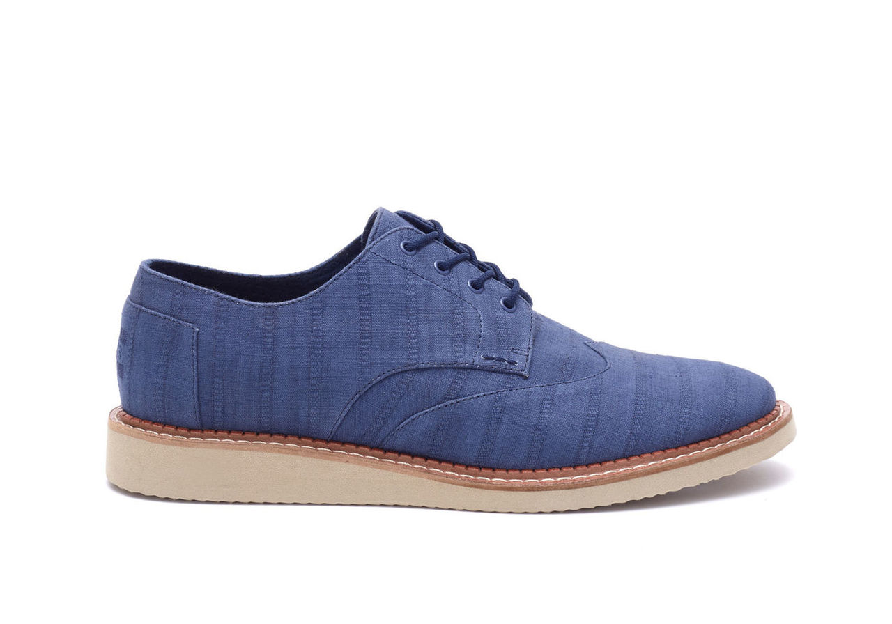 Blue Indigo Linear Textile Mens Brogue