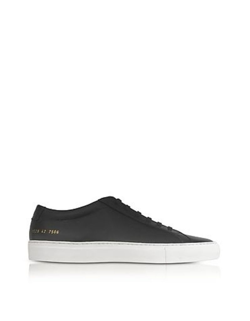Common Projects - Original Achilles Low Black Leather Men's Sneaker w/White Sole