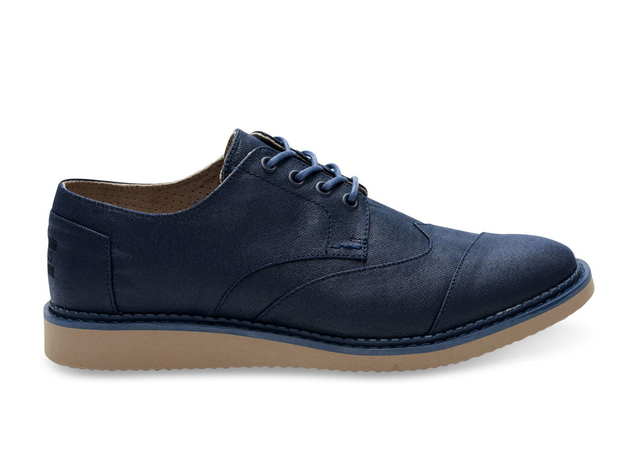 Navy Coated Canvas Men's Brogues