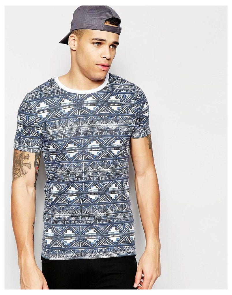 ASOS Muscle T-Shirt With Aztec Print And Contrast Ringer - Blue/white