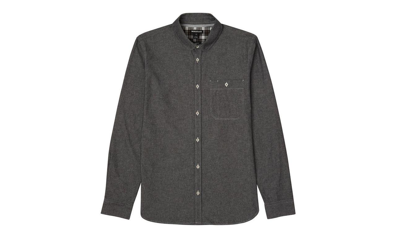 Chambray Round Collar Shirt