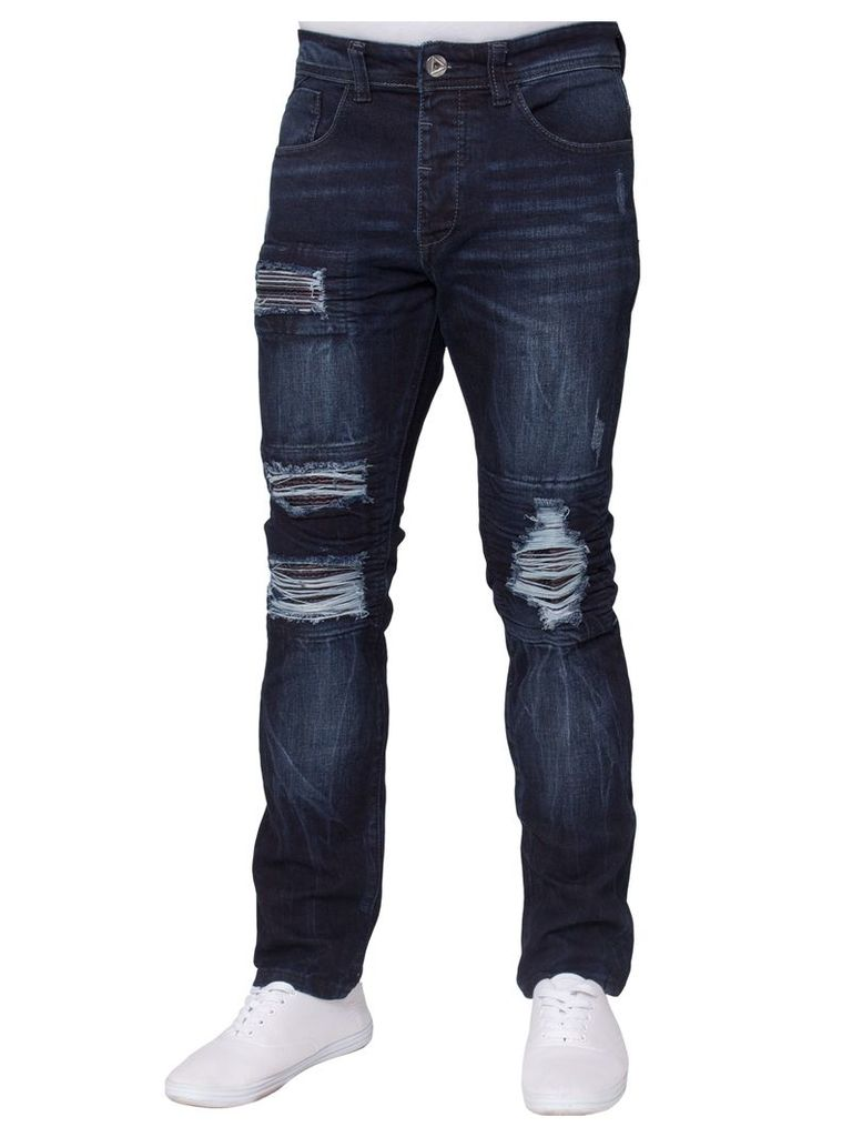 Mens Stretch Slim Fit Jeans Indigo Wash