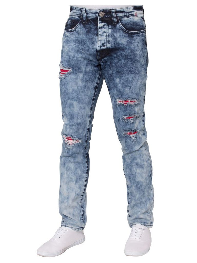 Mens Stretch Slim Fit Jeans Blue Acid Wash