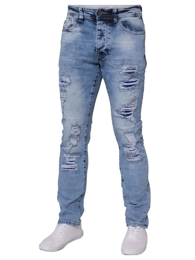 Mens Stretch Slim Fit Jeans Light Stone Wash