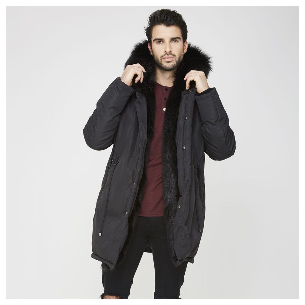 Maniere De Voir; Fur Lined Coat - Black/Black