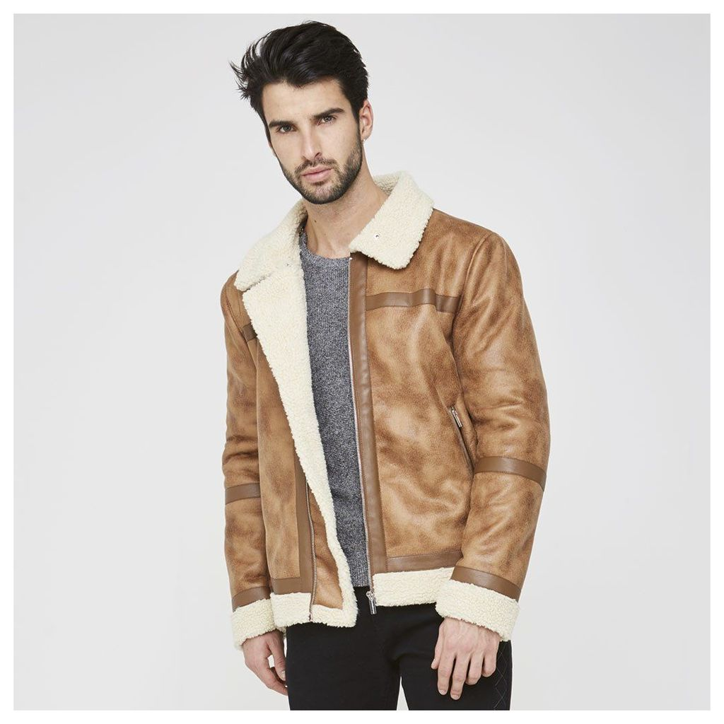 Maniere De Voir; Shearling Lined Jacket - Brown