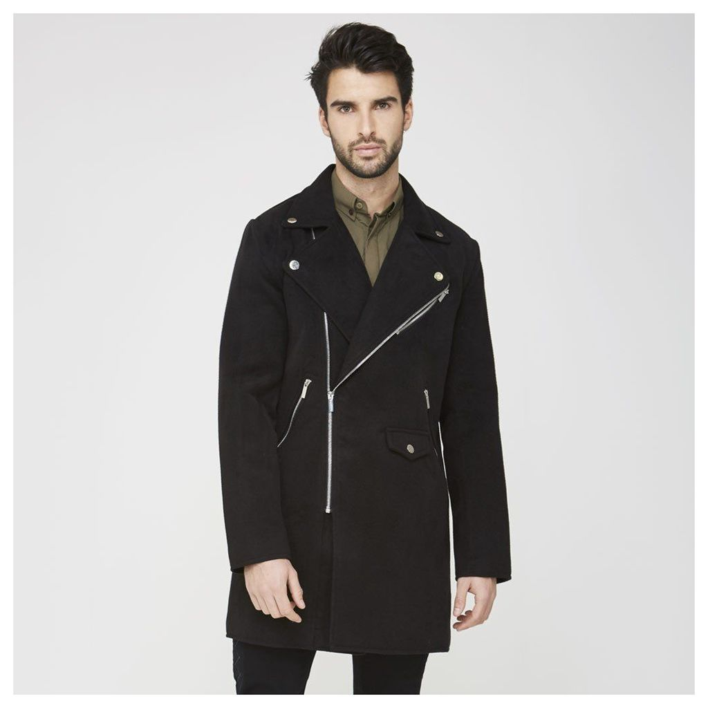 Maniere De Voir; Biker Trench Coat - Black
