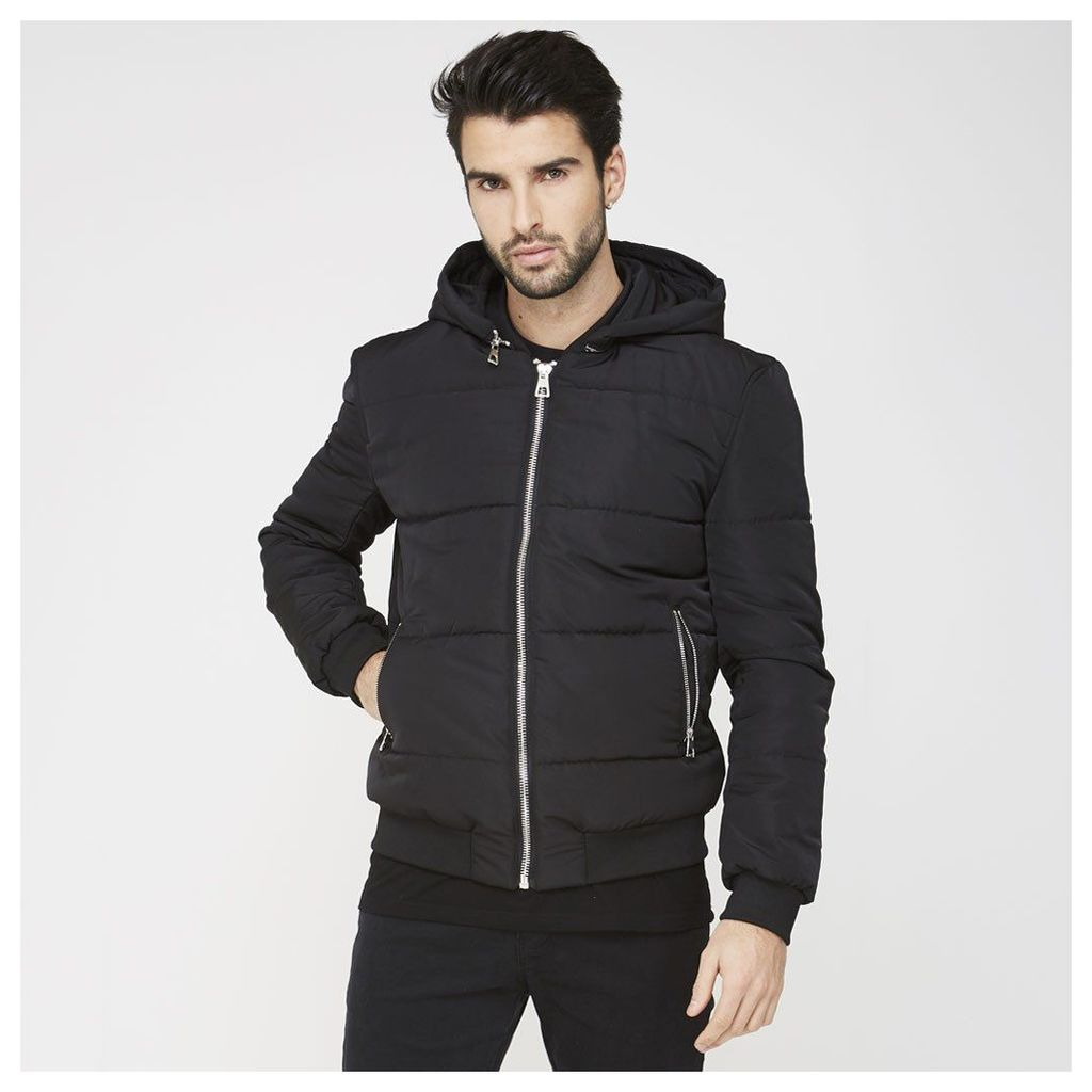 Maniere De Voir; Puffer Coat with Detachable Hood - Black